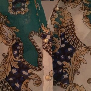 Tops - Baroque patterned chiffon shirt